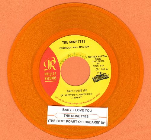 Ronettes - Baby, I Love You/(The Best Part Of) Breakin' Up (authentic-looking double-hit YELLOW VINYL re-issue with juke box label)(minor wol) - NM9/ - 45 rpm Records