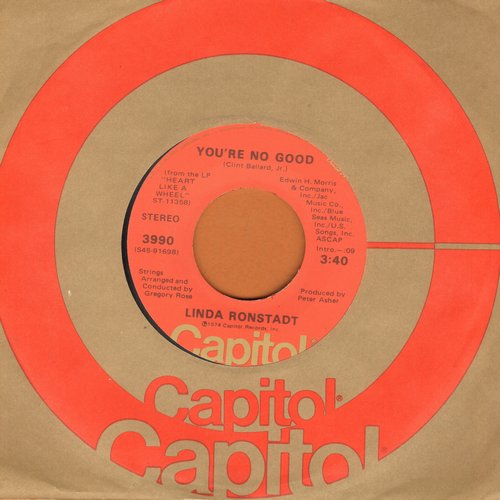 Ronstadt, Linda - You're No Good/I Can't Help It (If I'm Still In Love With You) - EX8/ - 45 rpm Records