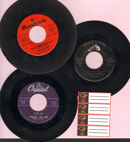 Browns, Tennessee Ernie Ford, Jimmie Rodgers - Vintage Folk 3-Pack: First Pressing 45s include hits The Three Bells, Sixteen Tons and Kisses Are Sweeter Than Wine. Shipped in plain paper sleeves with 4 blank juke box labels. - VG7/ - 45 rpm Records