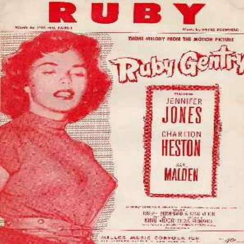 Ruby Gentry - Ruby - Original 1953 Sheet Music of the title song from film -Ruby Gentry- Later this song became a big hit for Ray Charles - Exceptionally beautiful cover featuring film star Jennifer Jones, suitable for framing!) - EX8/ - Sheet Music