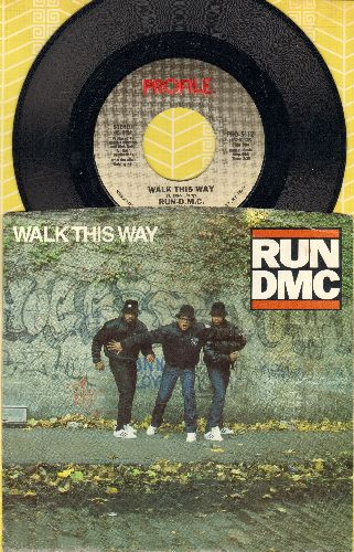 Run-D.M.C. - Walk This Way/King Of Rock (with picture sleeve)(sos) - NM9/EX8 - 45 rpm Records