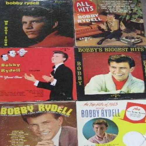 Rydell, Bobby - 6-Pack of vintage Bobby Rydell LPs! These are first issue albums in very good or better condition. Hit titles include We Got Love, All The Hits, Salutes The Great Ones, Biggest Hits, Starring Bobby Rydell and The Top Hits of 1963. A Great