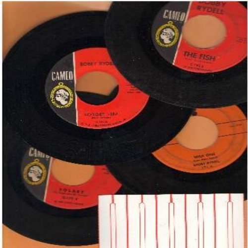 Rydell, Bobby - Bobby Rydell 4-Pack of first issue 45s in very good or better condition: Hits include Volare, Wild One, The Fish and Forget Him. Shipped with plain white paper sleeves and 5 blank juke box labels. - VG7/ - 45 rpm Records