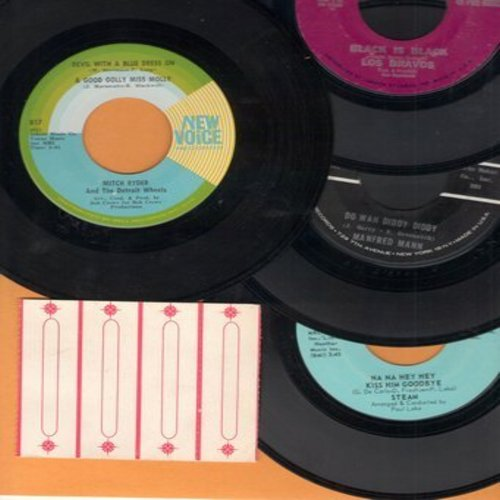 Los Bravos, Manfred Mann, Steam, Mitch Ryder & The Detroit Wheels - Vintage 60s Rock & Roll 45rpm 4-Pack, includes Black Is Black, Do Wah Diddy Diddy, Devil With A Blue Dress and Nana Hey Hey Kiss Him Goodbye, with 4 blank juke box labels. - EX8/ - 45 rpm