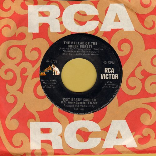 Sadler, Ssgt Barry - The Ballad Of The Green Berets/Letter From Vietnam (with RCA company sleeve) - NM9/ - 45 rpm Records