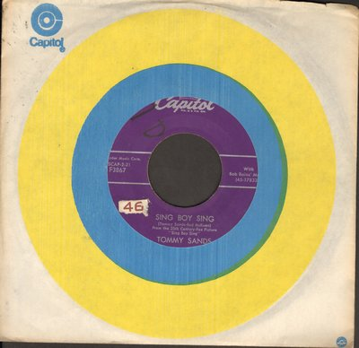 Sands, Tommy - Sing Boy Sing/Crazy 'Cause I Love You (sol) - VG7/ - 45 rpm Records