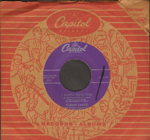 Sands, Tommy - I Gotta Have You/You Hold The Future (with vintage Capitol company sleeve) - NM9/ - 45 rpm Records