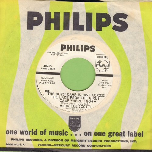 Scotti, Michelle - The Boys' Camp Is Just Across The Lake From The Girls' Camp Where I Go/Save Your Heart For Me (DEFINITIVE 60s Girl-Sound Two-Sider! -DJ advance pressing with Philips company sleeve) - EX8/ - 45 rpm Records