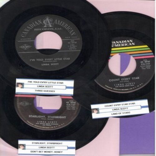 Scott, Linda - Linda Scott -Star Lady- 3 Pack: First issues with juke box labels. Hits include I've Told Ev'ry Little Star, Count Every Star, Starlight Starbright. GREAT for a juke box or for a fan of the star! - EX8/ - 45 rpm Records