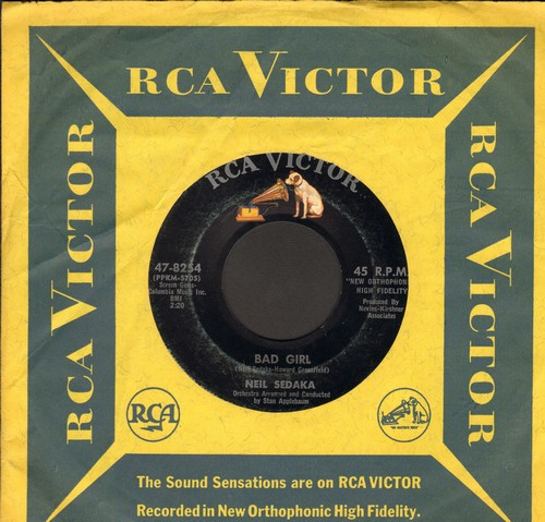 Sedaka, Neil - Bad Girl/Wait 'Til You See My Baby (with vintage RCA company sleeve) - VG7/ - 45 rpm Records