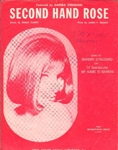 Streisand, Barbra - Second Hand Rose - SHEET MUSIC for the song made popular by Barbra Streisand (NICE cover art featuring Barbra Streisand)(woc) - EX8/ - 45 rpm Records
