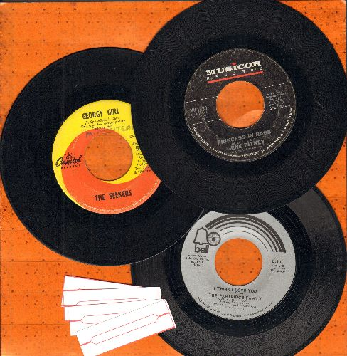 Partridge Family, Gene Pitney, Seekers - 3-Pack of first issue Top 40 Hits: I Think I Love You, Georgy Girl, Princess In Rags. Shipped in plain white paper sleeves with 4 blank juke box labels. - VG7/ - 45 rpm Records