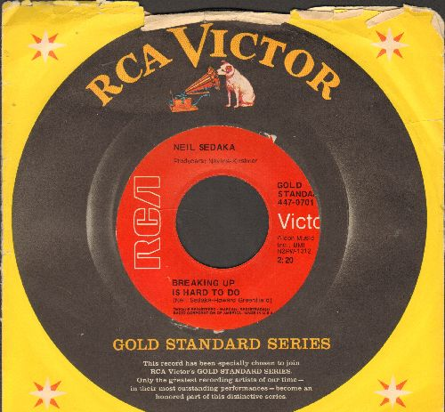 Sedaka, Neil - Breaking Up Is Hard To Do/Next Door To An Angel (early double-hit re-issue with RCA company sleeve) - NM9/ - 45 rpm Records
