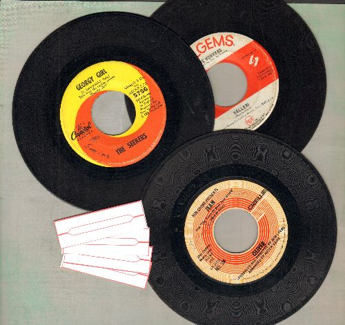 Monkees, Oliver, Seekers - 3-Pack of first issue Top 40 Hits: Georgy Girl, Jean, Valleri! - Shipped in plain white paper sleeves with 4 blank juke box labels. - VG7/ - 45 rpm Records