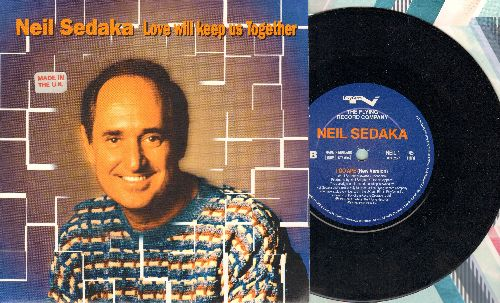 Sedaka, Neil - Love Will Keep Us Together/I Go Ape (new versions of the Neil Sedaka classics, British Pressing with picture cover, small spindle hole) - NM9/NM9 - 45 rpm Records