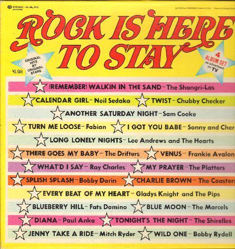 Darin, Bobby, Neil Sedaka, Fabian, Shirelles, Paul Anka, others - Rock Is Here To Stay: Splish Splash, Calendar Girl, Diana, Blue Moon, Wild One, Bristol Stomp, Mr. Lee, Tears On My Pillow (4 vinyl LP record box set) - NM9/EX8 - LP Records