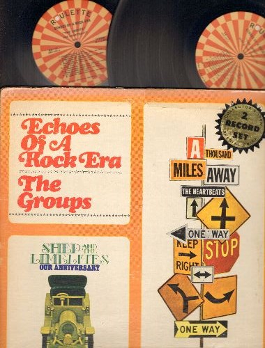 Heartbeats, Shep & The Limelites - Echoes Of A Rock Era - The Groups: Crazy For You, One Million Years, Daddy's Home, Our Anniversary, For You My Love (2 vinyl LP records, re-issue of vintage recordings) - NM9/VG6 - LP Records