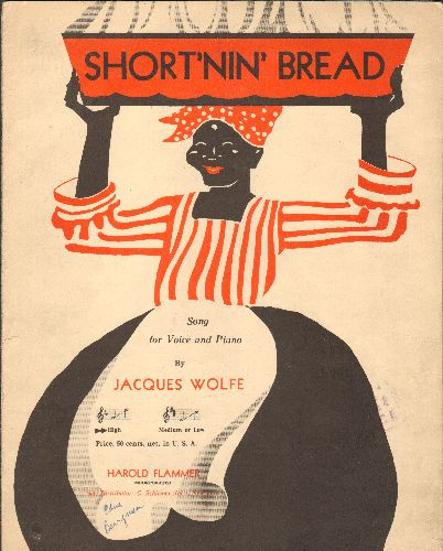 Short'nin' Bread - Short'nin' Bread - RARE Vintage SHEET MUSIC for the popular folk song, UNIQUE cover art, suitable for framing! - EX8/ - Sheet Music