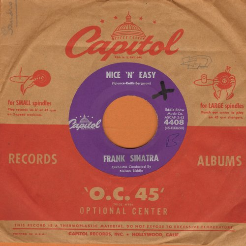Sinatra, Frank - Nice 'N' Easy/This Was My Love (purple label first pressing with vintage Capitol company sleeve) (minor wol) - VG7/ - 45 rpm Records