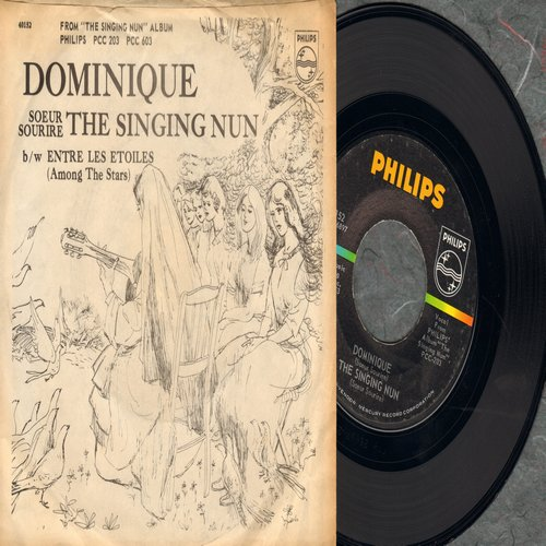 Singing Nun - Dominique/Entre Les Etoiles (US Pressing sung in French, with picture sleeve with song lyrics of hit on back) (BB) - NM9/VG7 - 45 rpm Records