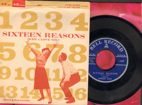 Saleo, Barbara - Sixteen Reasons (Why I Love You)/I Love The Way You Love (by Art Mindo on flip-side) (early cover versions of hits, with RARE picture sleeve!) - NM9/EX8 - 45 rpm Records