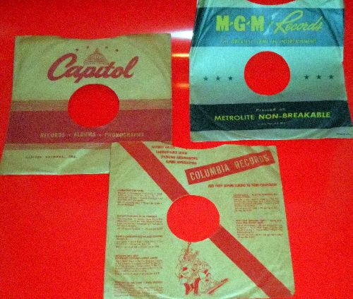 Company Sleeves - Set of 3 vintage company sleeves for 10 inch records (exactly as pictured), shipped in clear plastic sleeve. Enhances and protects you collectable 10 inch 78 rpm record! DUE TO POST OFFICE REGULATIONS THIS ITEM CAN ONLY BE SENT PRIORITY