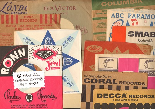 Company Sleeves - 12 Vintage Company Sleeves - Set #012-41 (exactly as pictured!) - Dress up your 7 inch vinyl records in original company sleeves of the 1950s & 60s. Good to excellent condition. - /EX8 - Supplies