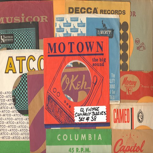Company Sleeves - 12 Vintage Company Sleeves - Set #012-38 (exactly as pictured!) - Dress up your 7 inch vinyl records in original company sleeves of the 1950s & 60s. Excellent condition. - /EX8 - Supplies