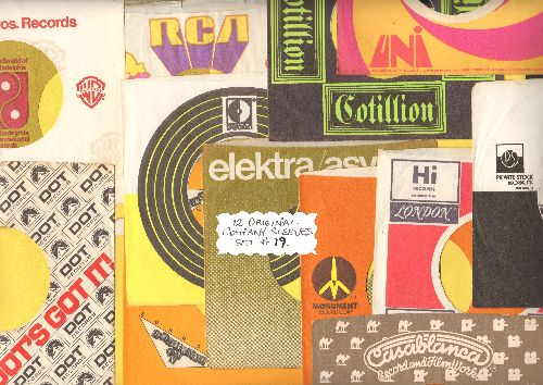 Company Sleeves - 12 Vintage Company Sleeves - Set #012-19 (exactly as pictured!) - Dress up your 7 inch vinyl records in original company sleeves of the 1970s & 80s. Good to excellent condition. - /EX8 - Supplies