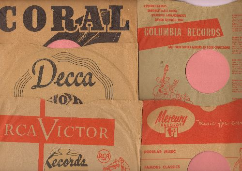 Company Sleeves - 5 Vintage 10 inch Company Sleeves for 78 rpm records. Includes 1 Each Columbia, Coral, Decca, Mercury, RCA. Sleeves are in excellent condition! - /EX8 - Supplies