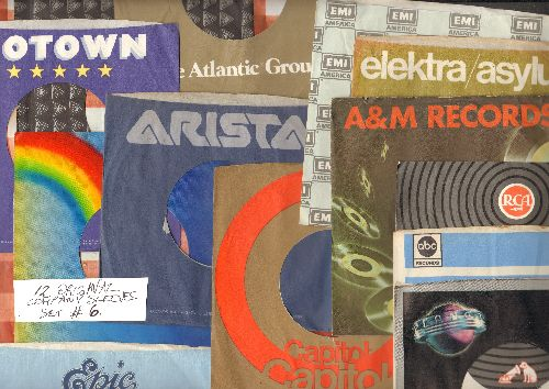 Company Sleeves - 12 Vintage Company Sleeves - Set #012-6 (exactly as pictured!) - Dress up your 7 inch vinyl records in original company sleeves of the 1970s & 80s. Good to excellent condition. - /EX8 - Supplies