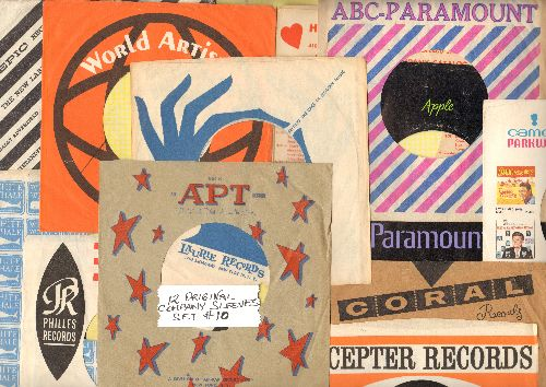 Company Sleeves - 12 Vintage Company Sleeves - Set #012-10 (exactly as pictured!) - Dress up your 7 inch vinyl records in original company sleeves of the 1950s & 60s. Good to excellent condition. - /EX8 - Supplies