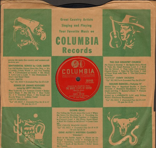 Smith, Kate - The White Cliffs Of Dover/Rose O'Day (10 inch 78 rpm record with Columbia company sleeve) - EX8/ - 78 rpm