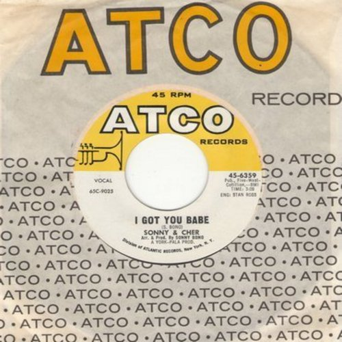 Sonny & Cher - I Got You Babe/It's Gonna Rain (with Atco company sleeve) - EX8/ - 45 rpm Records
