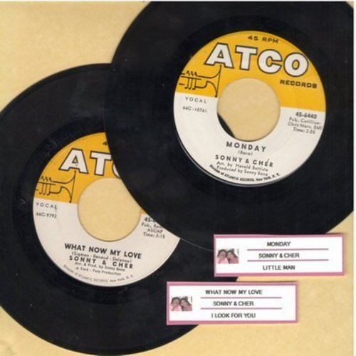 Sonny & Cher - 2 for 1 Special: What Now My Love/Monday (2 vintage first issue 45rpm records with juke box labels for the price of 1!) - EX8/ - 45 rpm Records