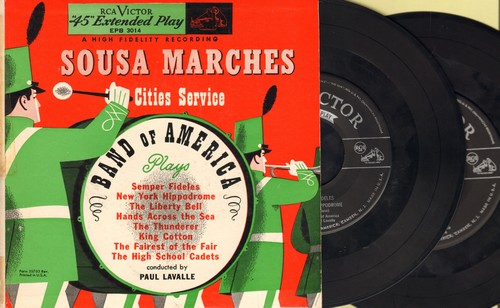 Band of America - Sousa Marches Cities Service: Smper Fideles, King Cotton, The Liberty Bell + 5 (2 vinyl EP records with picture cover) - EX8/EX8 - 45 rpm Records