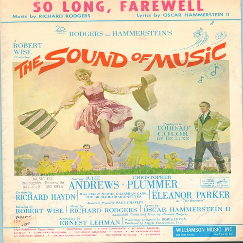 Andrews, Julie - So Long, Farewell - Vintage SHEET MUSIC for the song featured in film -The Sound Of Music- starring Julie Andrews and Christopher Plummer - EX8/ - Sheet Music