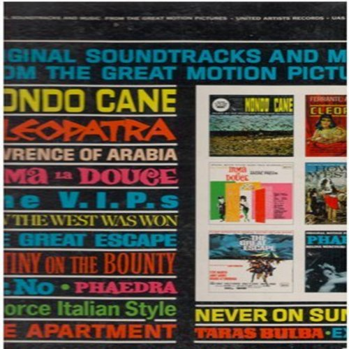Holmes, Leroy Orchestra, Ferrante & Teicher, Mikis Theodorakis Orchestra, others - Original Soundtracks & Music From The Great Motion Pictures: Themes from The V.I.P.'s, Lawrence Of Arabia, Phaedra, Cleopatra, Exodus, others (vinyl STEREO LP record) - EX8