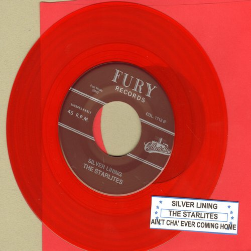 Starlites - Silver Lining/Ain't Cha' Ever Coming Home  (RED Vinyl re-issue with juke box label) - M10/ - 45 rpm Records