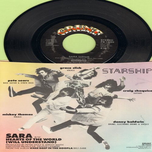Starship - Sara/Hearts Of The World (with picture sleeve) - NM9/EX8 - 45 rpm Records