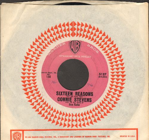 Stevens, Connie - Sixteen Reasons (Why I Love You)/Little Sister (PINK label early pressing with vintage Warner Brothers company sleeve) - VG7/ - 45 rpm Records