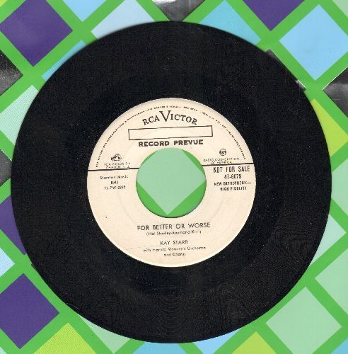 Starr, Kay - For Better Or Worse/Foolishly Yours (DJ advance pressing, sol) - EX8/ - 45 rpm Records