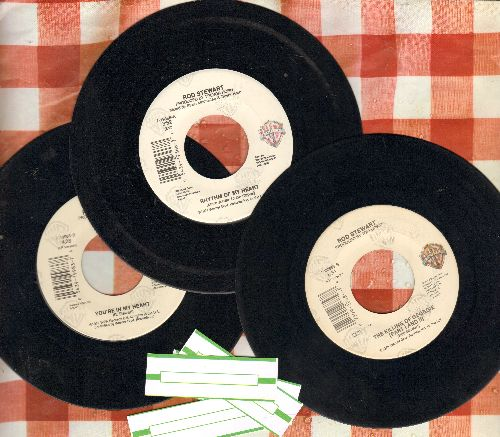Stewart, Rod - 3-Pack of Rod Stewart 45s. Includes Hits You're In My Heart, The Killing Of Georgie and Rhythm Of My Heart. Shipped in plain white paper sleeves with 4 blank juke box labels. - VG7/ - 45 rpm Records