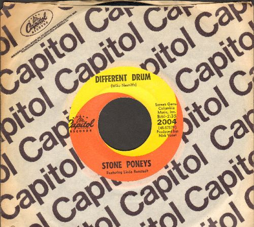 Ronstadt, Linda - Different Drum/I've Got To Know (billed as Stone Poneys Featuring Linda Ronstadt) (with Capitol company sleeve) - EX8/ - 45 rpm Records