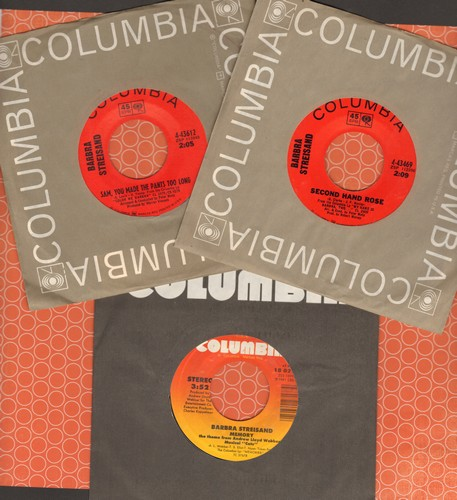 3pack Of Vintage Babra Streisand 45s With Columbia Company Sleeves Hits Includ
