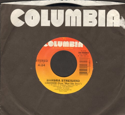 Streisand, Barbra - Somewhere (from -West Side Story-)/Not While I'm Around (from -Sweeney Todd-)  - EX8/ - 45 rpm Records