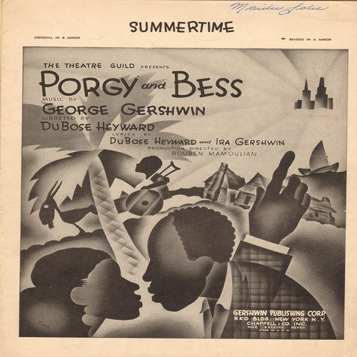 Porgy And Bess - Summertime - Vintage SHEET MUSIC for Standard from Broadway's -Porgy & Bess- - EX8/ - Sheet Music