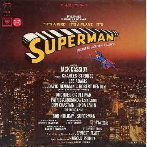 Cassidy, Jack, Linda Lavin, Bob Holiday, Patricia Marand, others - Superman - The New Musical Comedy starring Jack Cassidy as Max Mencken, Linda Lavin as Sydney, Patricia Marand as Lois Lane and Bob Holiday as Superman (vinyl STEREO LP record) - M10/EX8 -