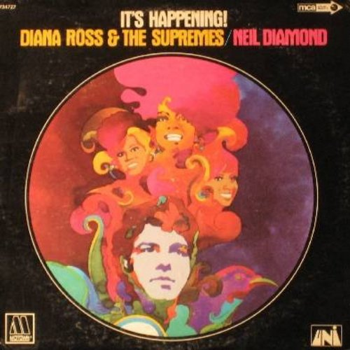 Supremes, Neil Diamond - It's Happening!: Does Your Mamma Know About Me, Brooklyn Road, No Matter What Sign You Are, Glory Road, Get Ready, And The Grass Will Pay No Mind (vinyl LP record) - NM9/EX8 - LP Records