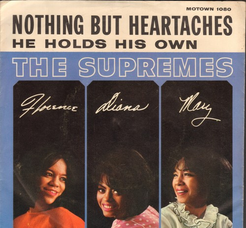 Supremes - Nothing But Heartaches/He Holds His Own (with picture sleeve) - NM9/EX8 - 45 rpm Records